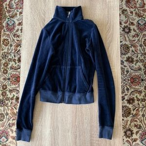 Juicy Couture Velour Track Jacket Navy Blue